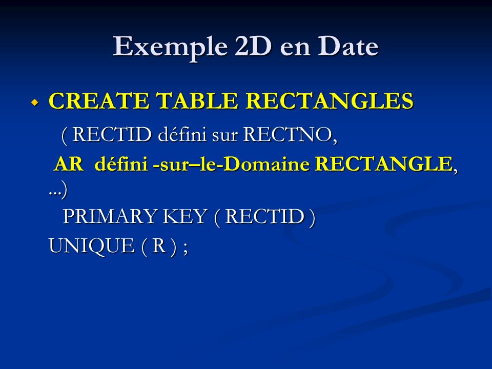 Exemple 2D en Date CREATE TABLE RECTANGLES ( RECTID défini sur RECTNO,