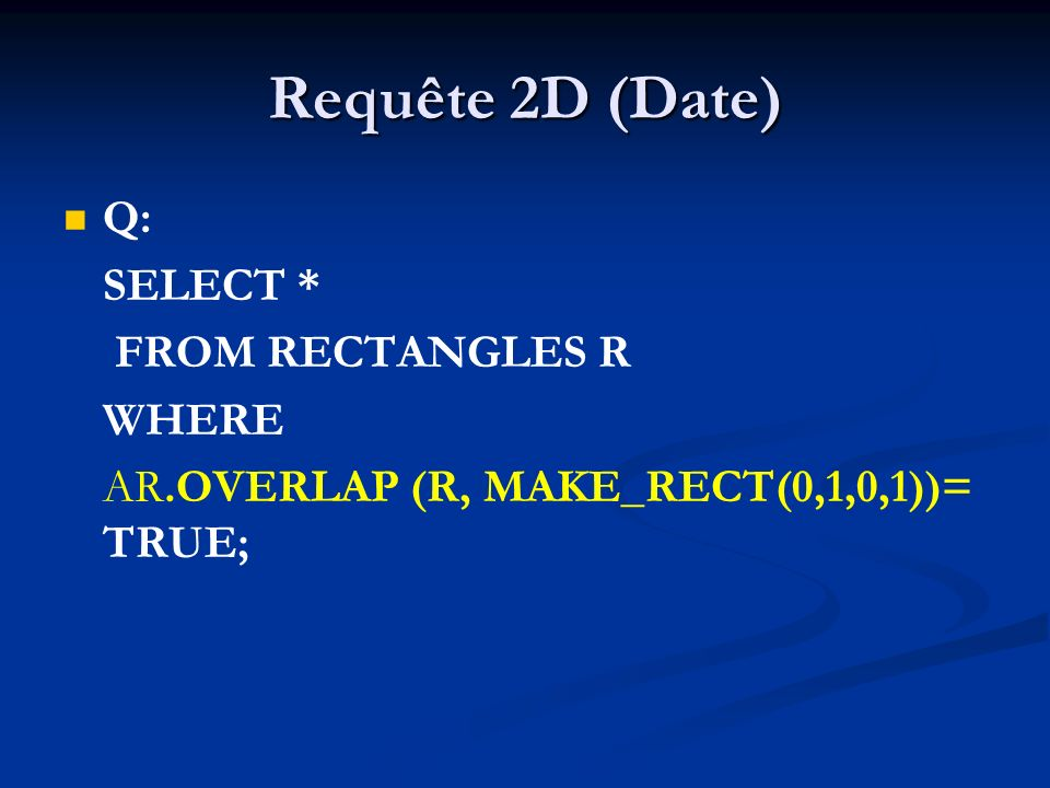Requête 2D (Date) Q: SELECT * FROM RECTANGLES R WHERE