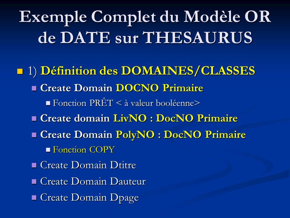 Exemple Complet du Modèle OR de DATE sur THESAURUS