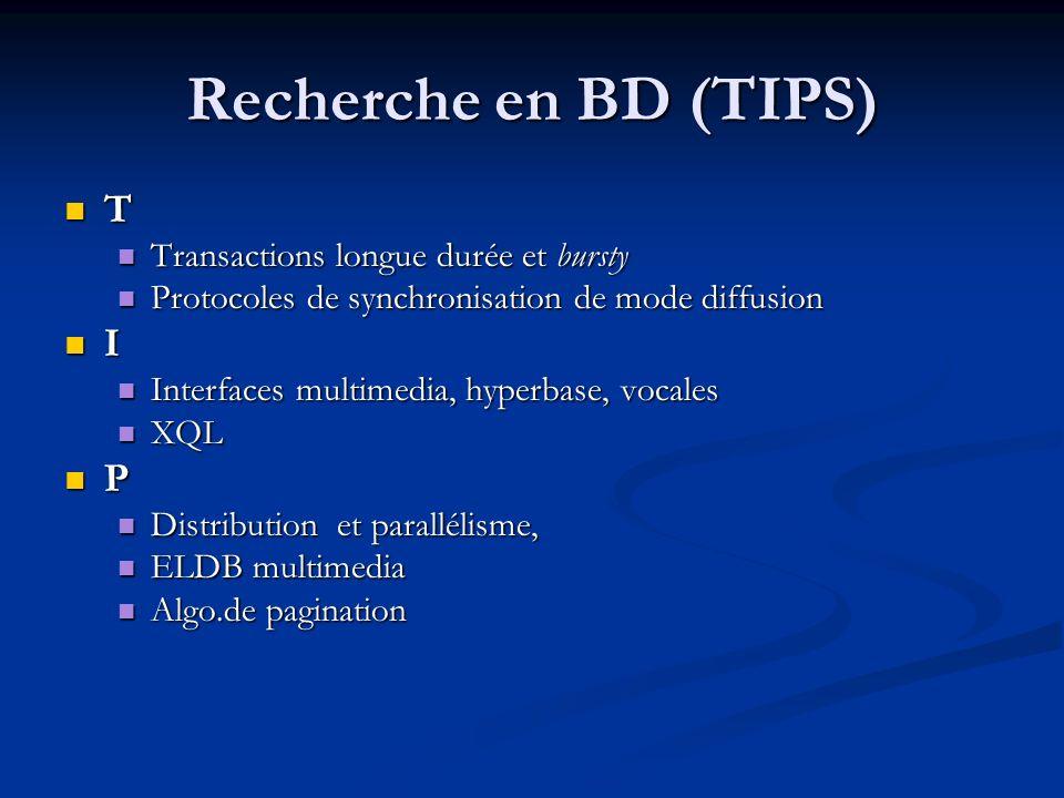 Recherche en BD (TIPS) T I P Transactions longue durée et bursty