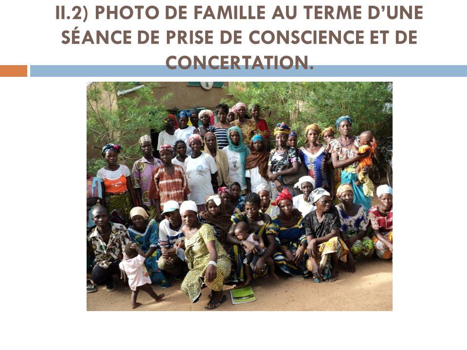II.2) PHOTO DE FAMILLE AU TERME D'UNE SÉANCE DE PRISE DE CONSCIENCE ET DE CONCERTATION.