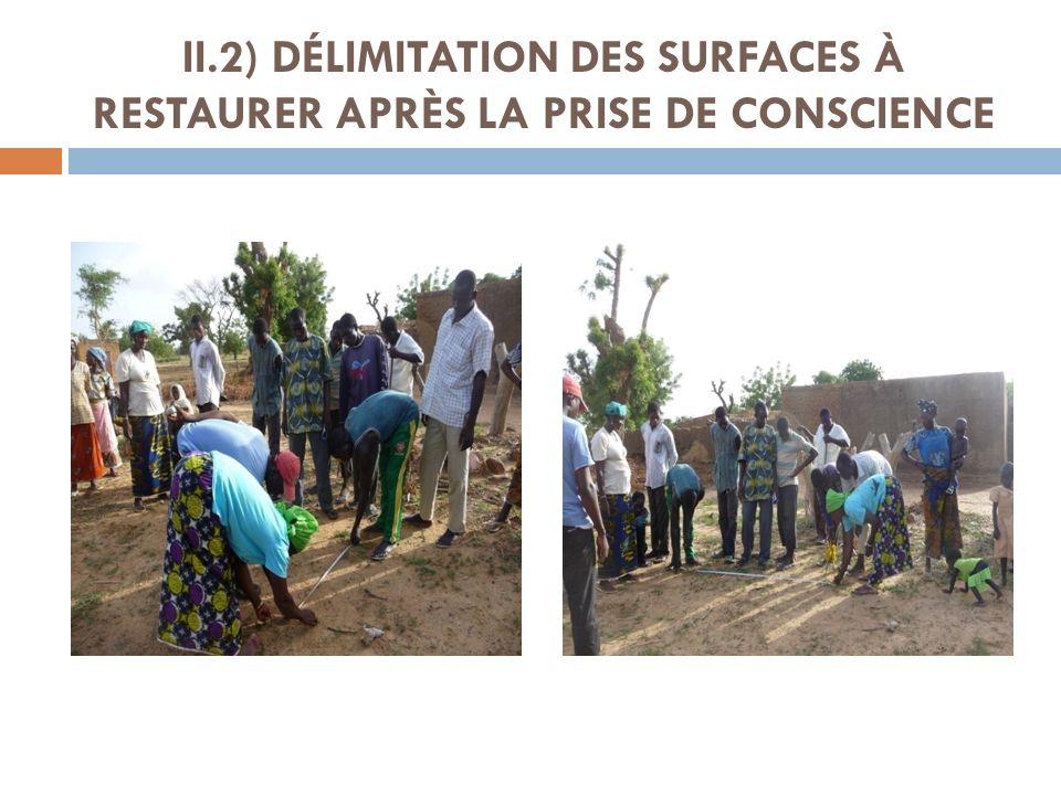 II.2) DÉLIMITATION DES SURFACES À RESTAURER APRÈS LA PRISE DE CONSCIENCE