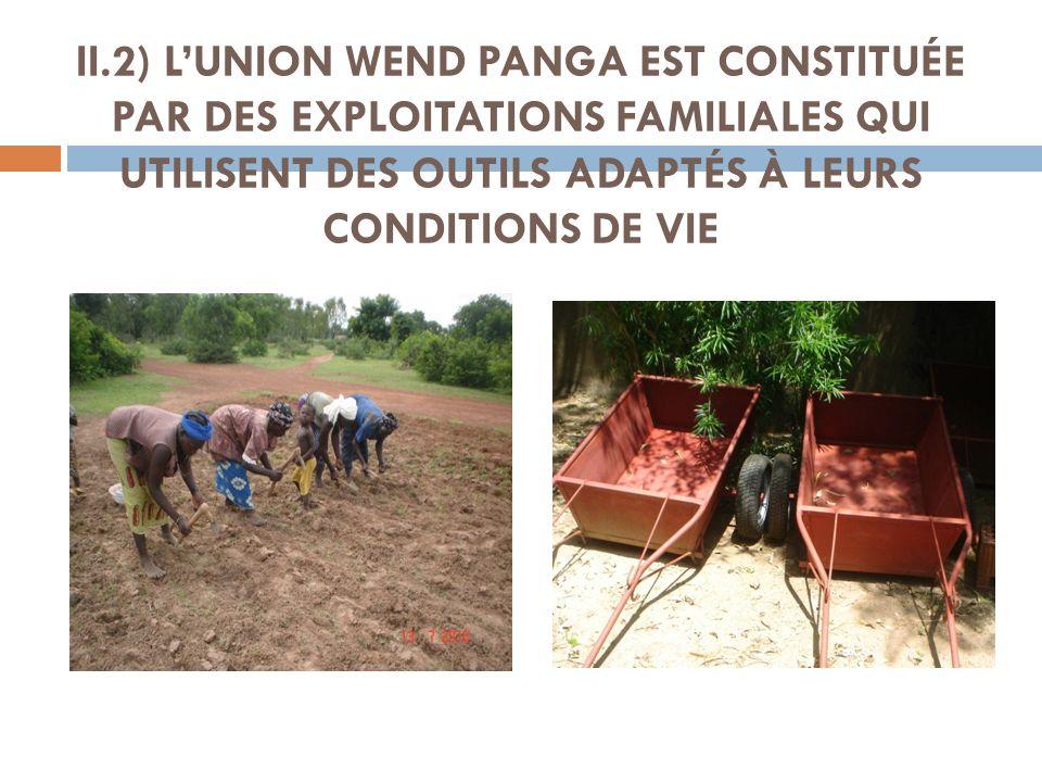 II.2) L'UNION WEND PANGA EST CONSTITUÉE PAR DES EXPLOITATIONS FAMILIALES QUI UTILISENT DES OUTILS ADAPTÉS À LEURS CONDITIONS DE VIE
