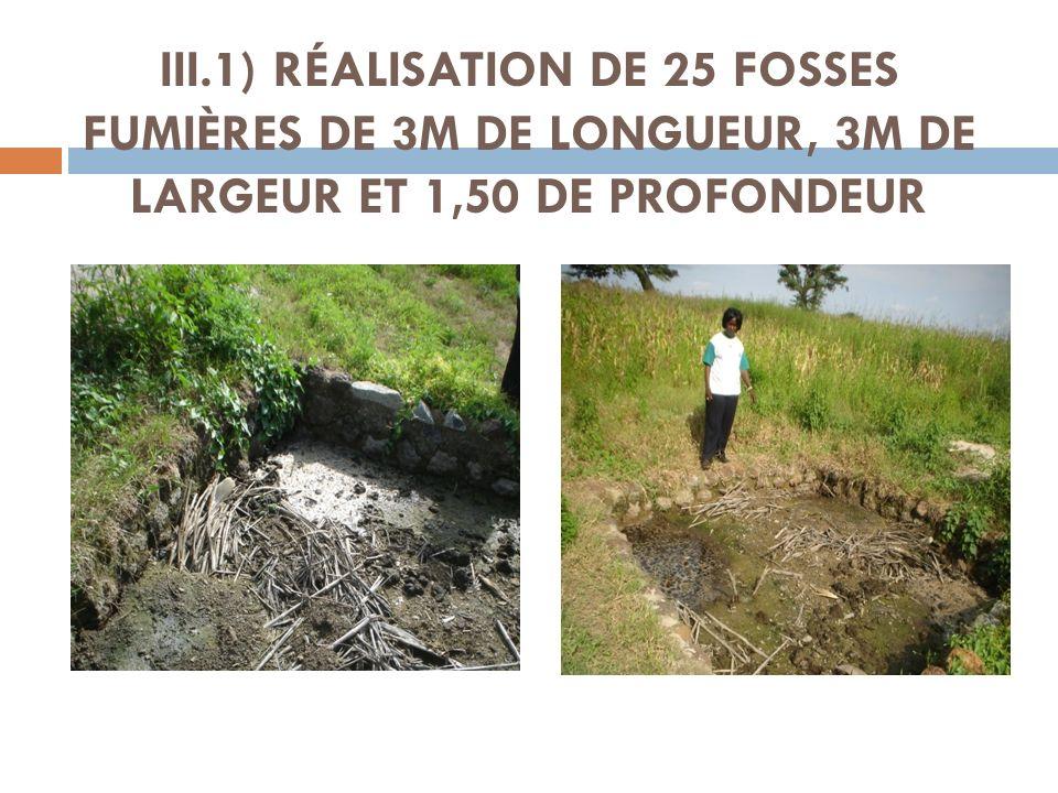 III.1) RÉALISATION DE 25 FOSSES FUMIÈRES DE 3M DE LONGUEUR, 3M DE LARGEUR ET 1,50 DE PROFONDEUR