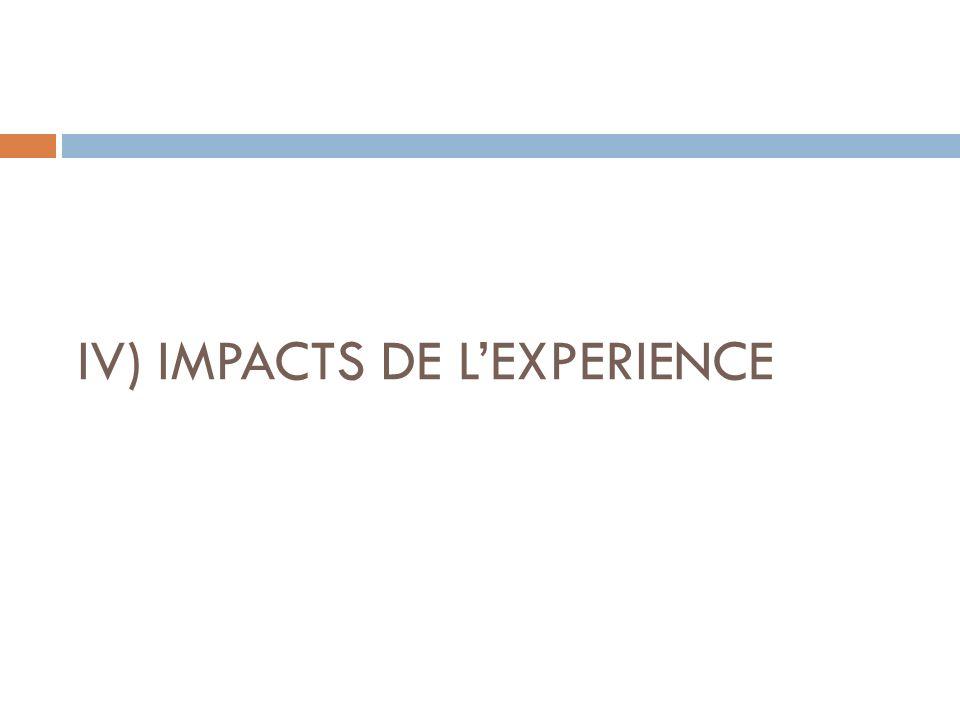 IV) IMPACTS DE L'EXPERIENCE