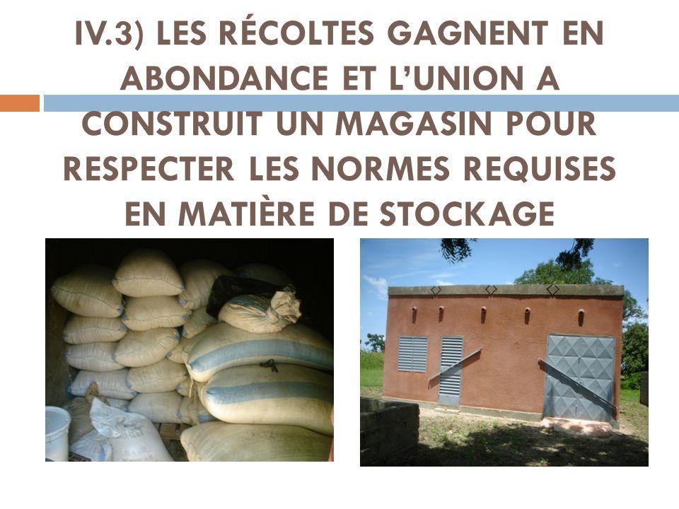 IV.3) LES RÉCOLTES GAGNENT EN ABONDANCE ET L'UNION A CONSTRUIT UN MAGASIN POUR RESPECTER LES NORMES REQUISES EN MATIÈRE DE STOCKAGE