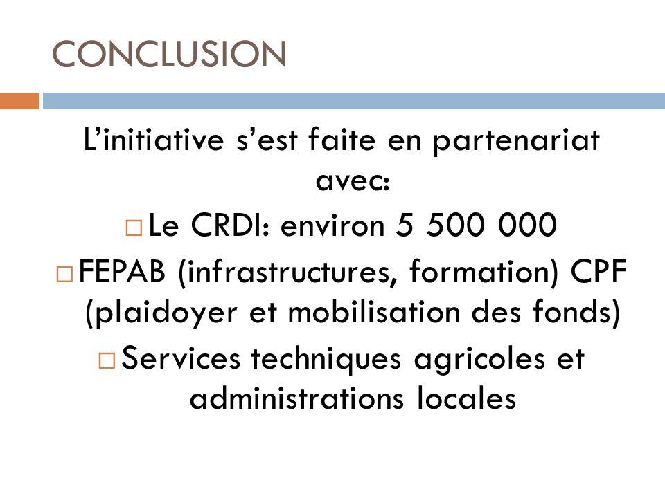 CONCLUSION L'initiative s'est faite en partenariat avec: