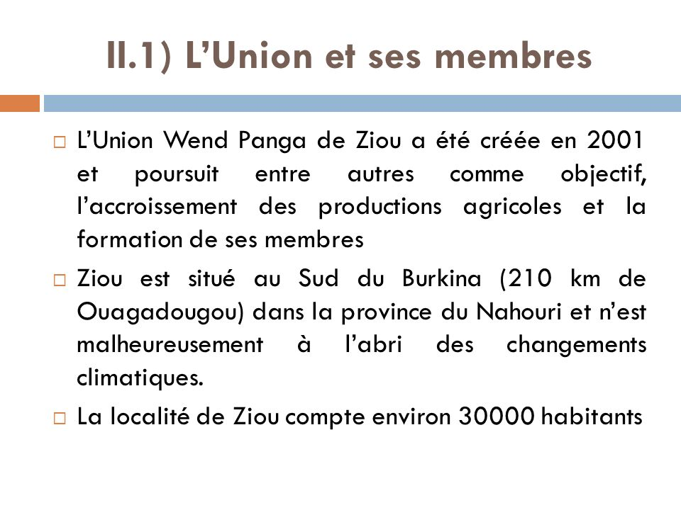 II.1) L'Union et ses membres