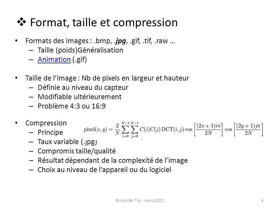 Format, taille et compression