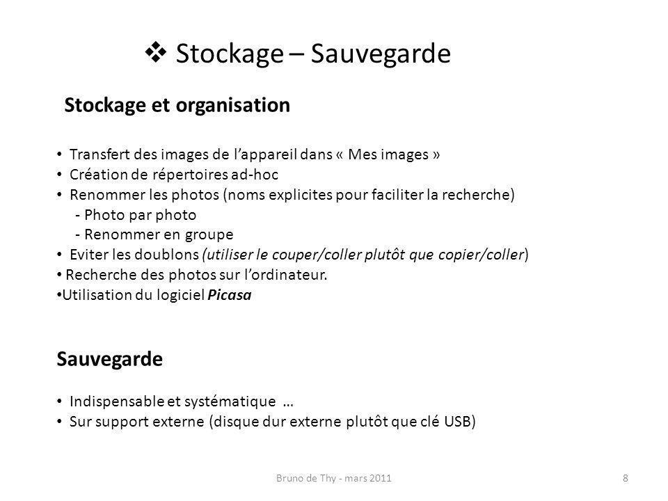 Stockage – Sauvegarde Stockage et organisation