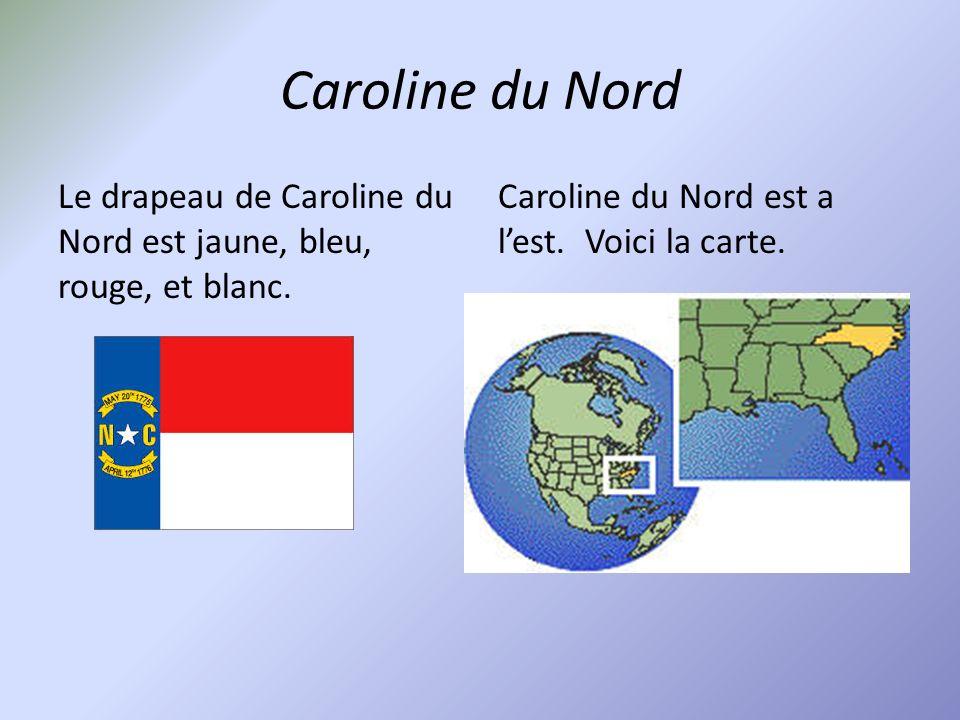 Caroline du Nord Le drapeau de Caroline du Nord est jaune, bleu, rouge, et blanc.