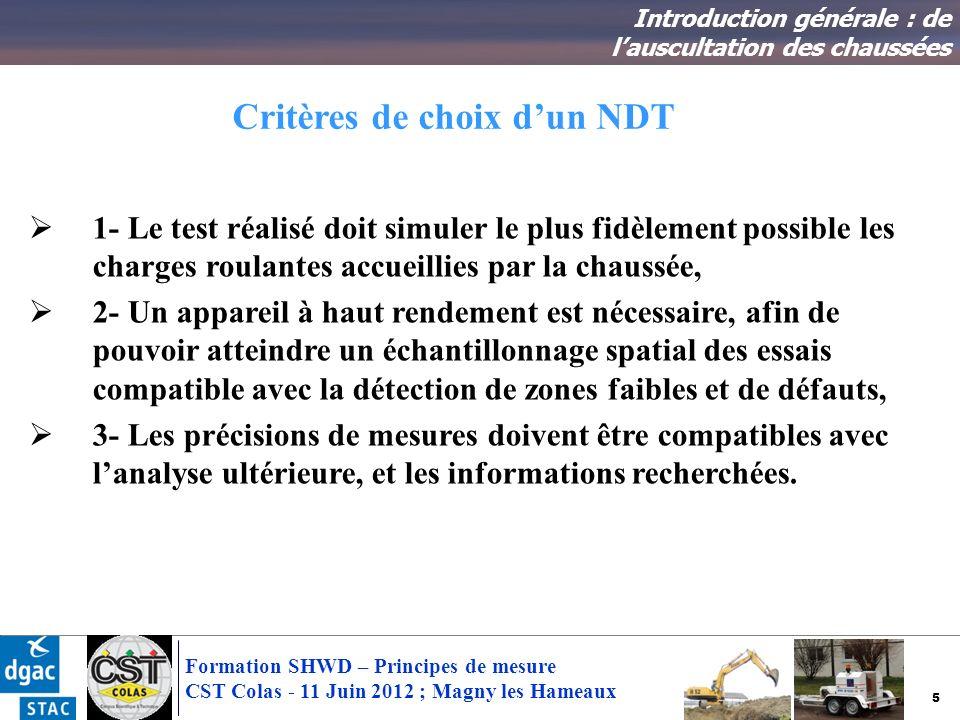 Critères de choix d'un NDT