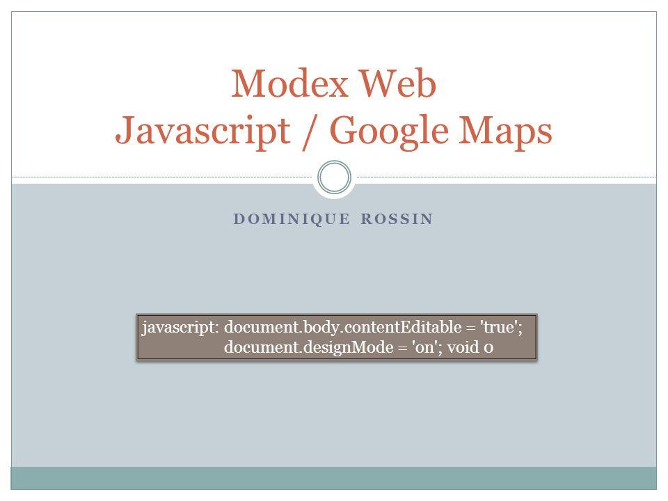 Modex Web Javascript / Google Maps