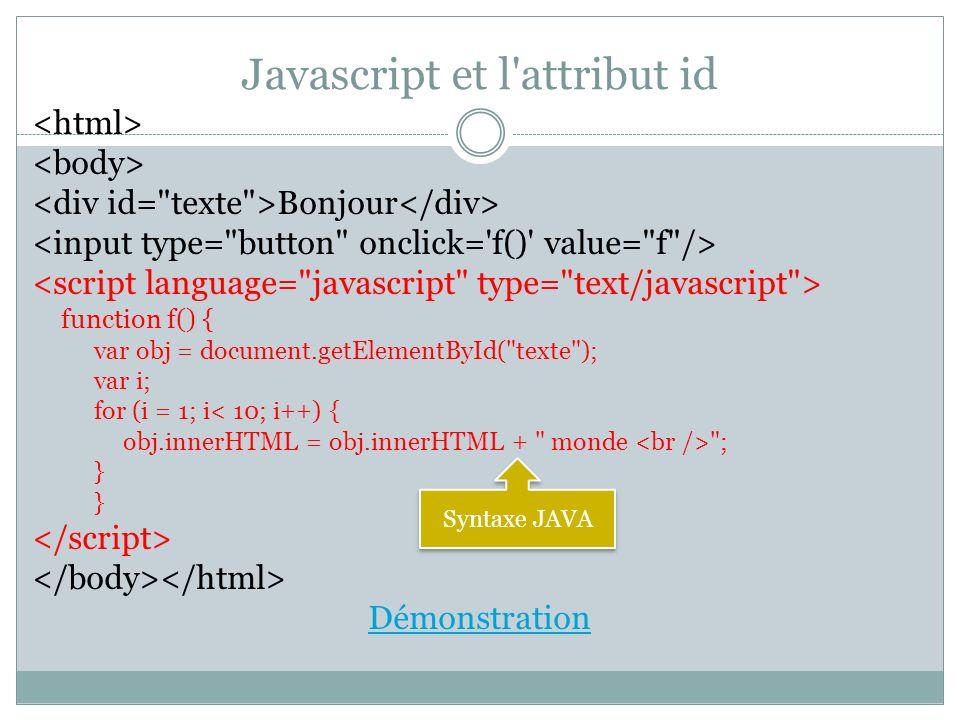 Javascript et l attribut id