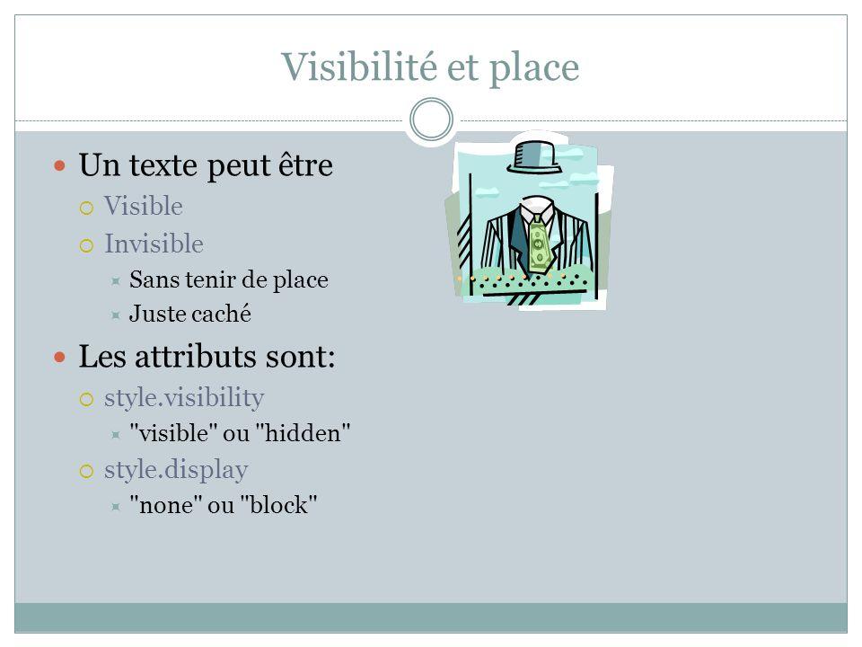 Visibilité et place Un texte peut être Les attributs sont: Visible