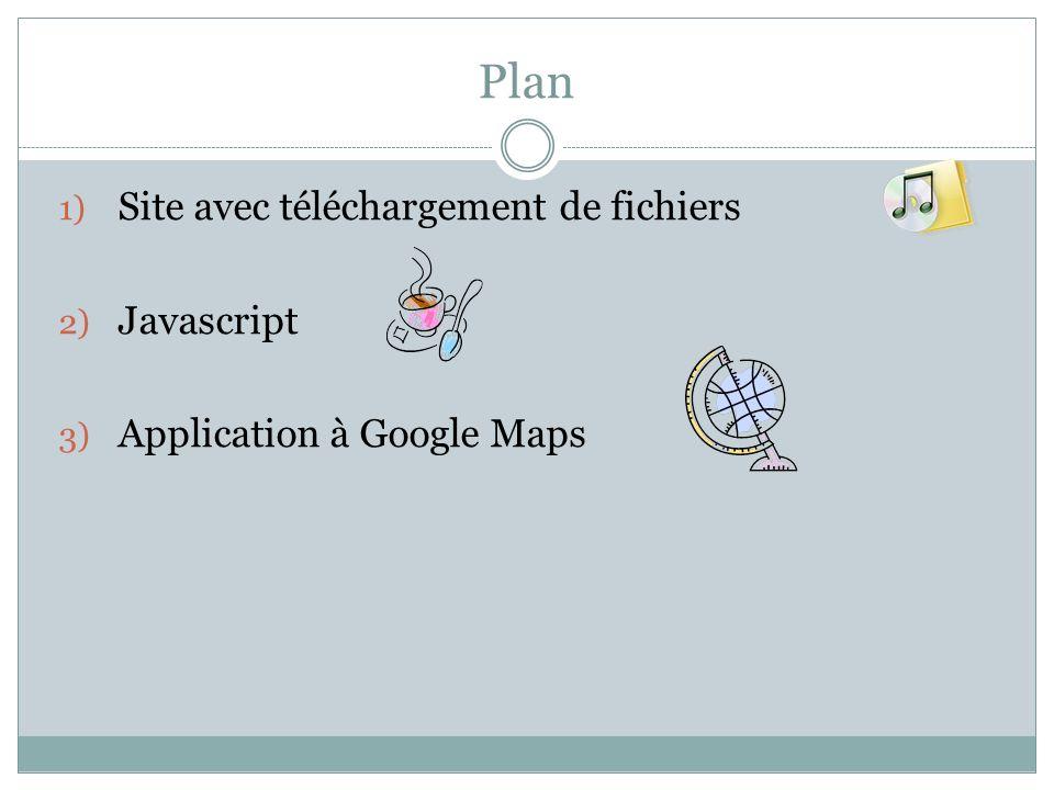 Plan Site avec téléchargement de fichiers Javascript