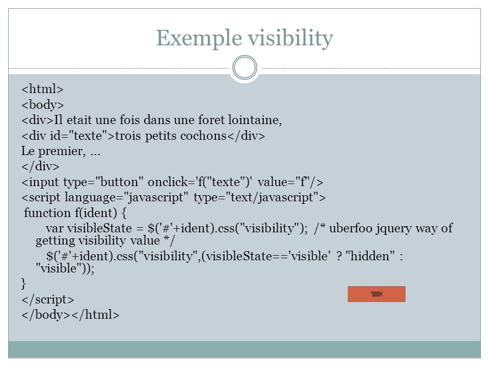 Exemple visibility <html> <body>
