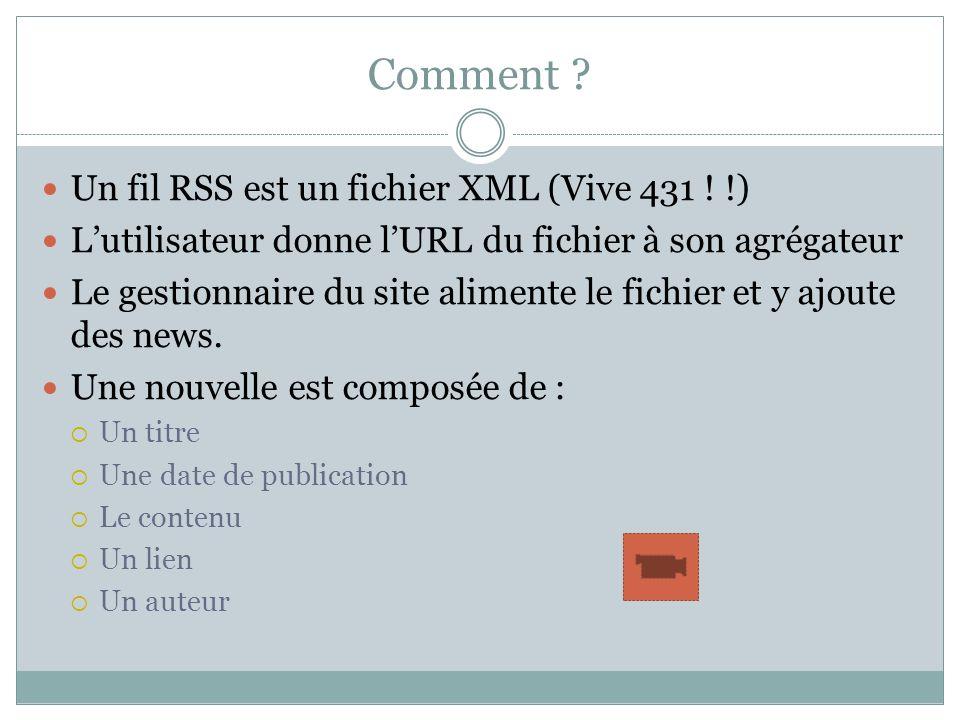 Comment Un fil RSS est un fichier XML (Vive 431 ! !)