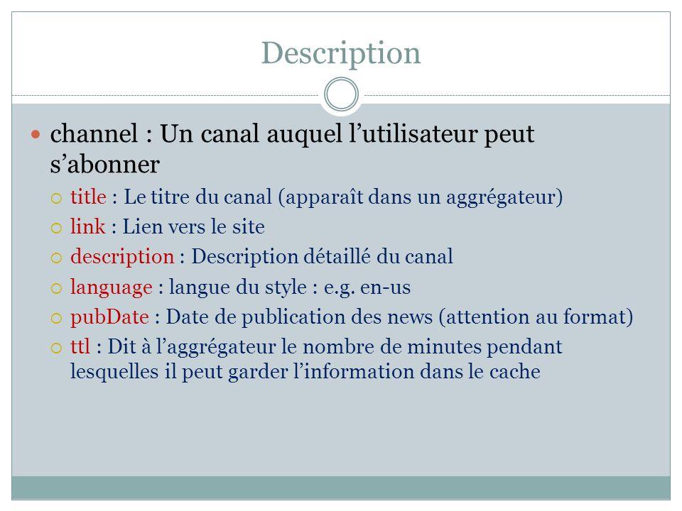 Description channel : Un canal auquel l'utilisateur peut s'abonner