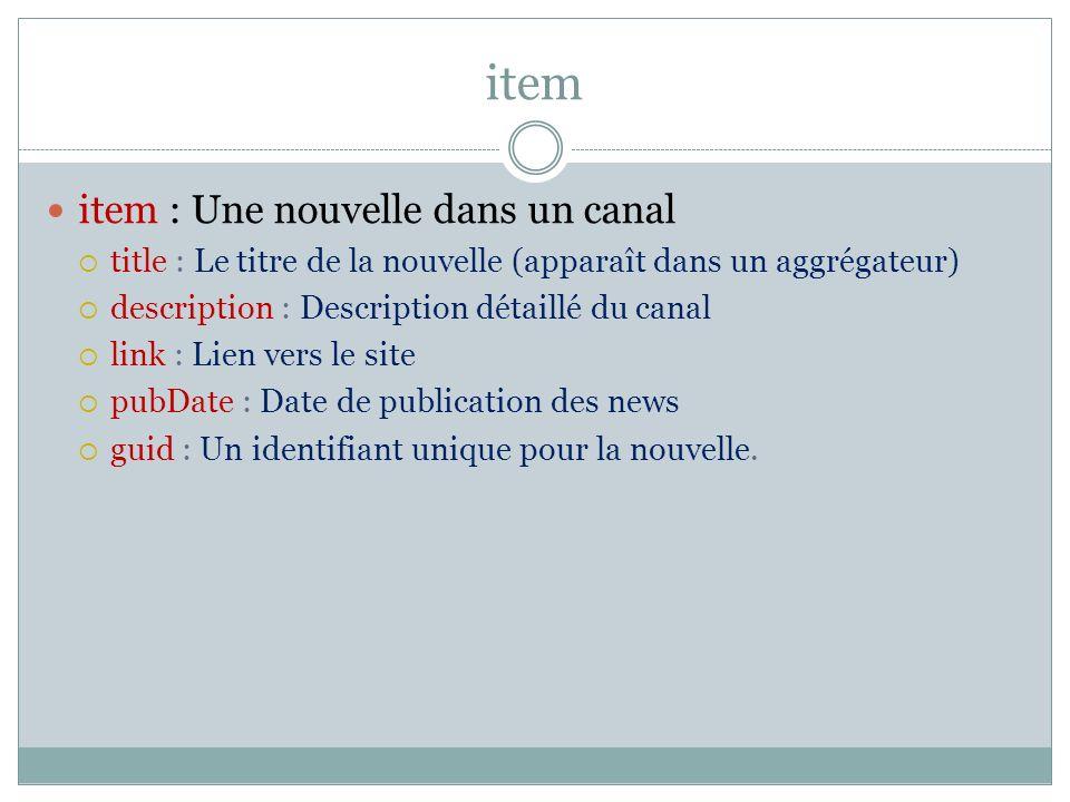 item item : Une nouvelle dans un canal