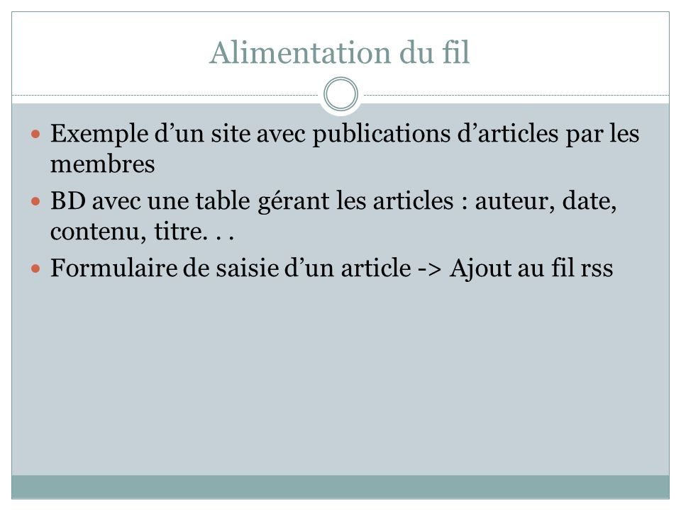Alimentation du fil Exemple d'un site avec publications d'articles par les membres.