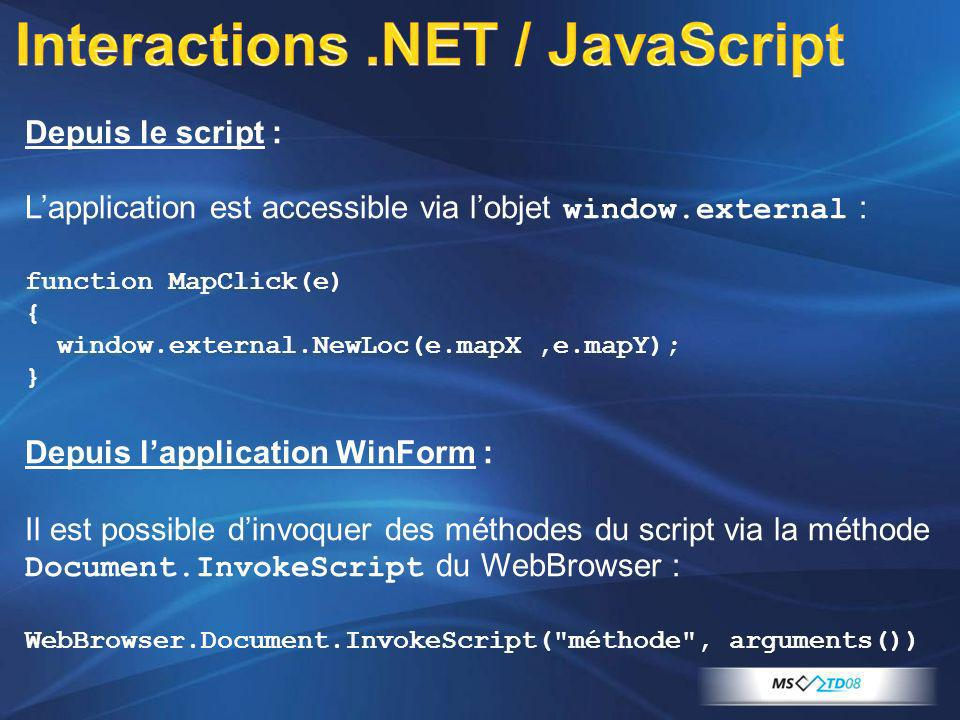 Interactions .NET / JavaScript