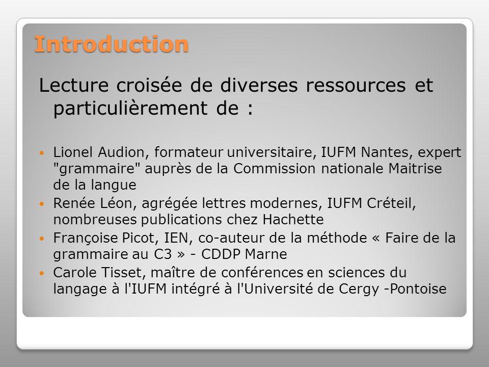 Introduction Lecture croisée de diverses ressources et particulièrement de :