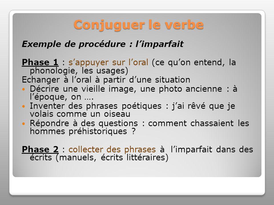 Conjuguer le verbe Exemple de procédure : l'imparfait