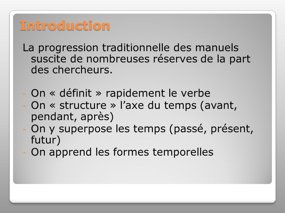 Introduction La progression traditionnelle des manuels suscite de nombreuses réserves de la part des chercheurs.
