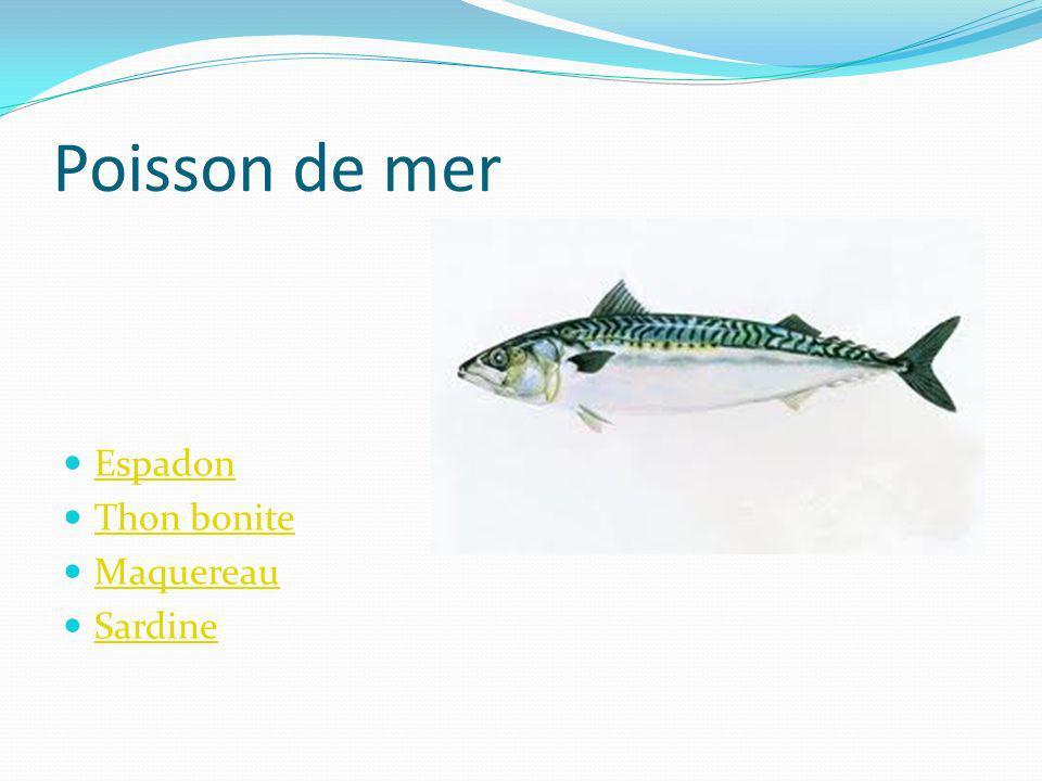 Poisson de mer Espadon Thon bonite Maquereau Sardine