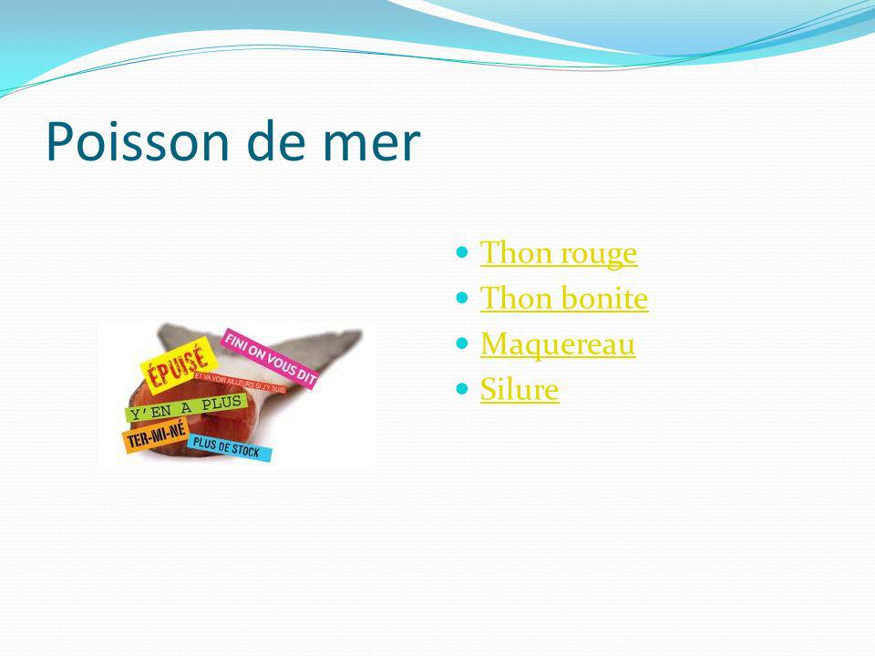 Poisson de mer Thon rouge Thon bonite Maquereau Silure