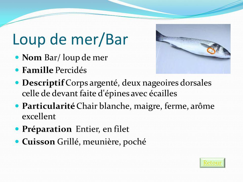 Loup de mer/Bar Nom Bar/ loup de mer Famille Percidés