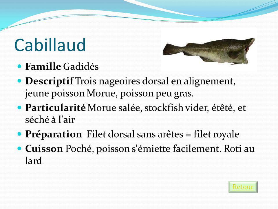 Cabillaud Famille Gadidés