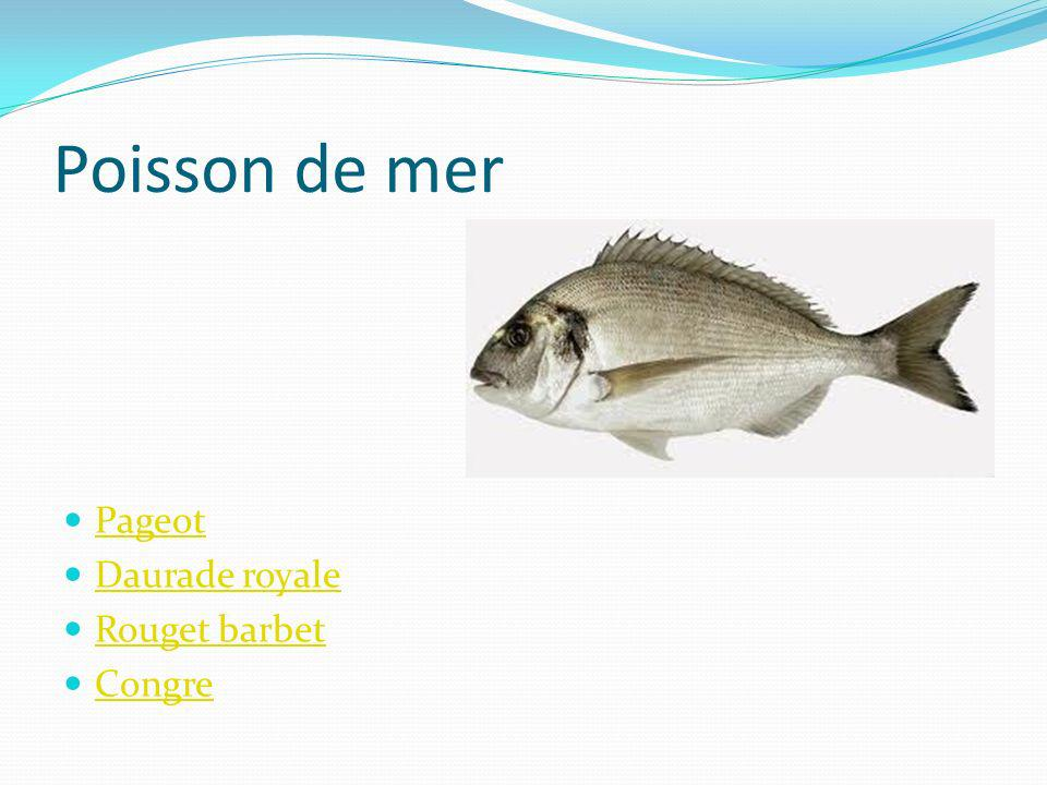 Poisson de mer Pageot Daurade royale Rouget barbet Congre