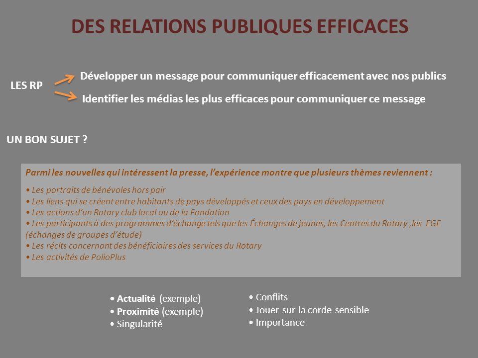DES RELATIONS PUBLIQUES EFFICACES