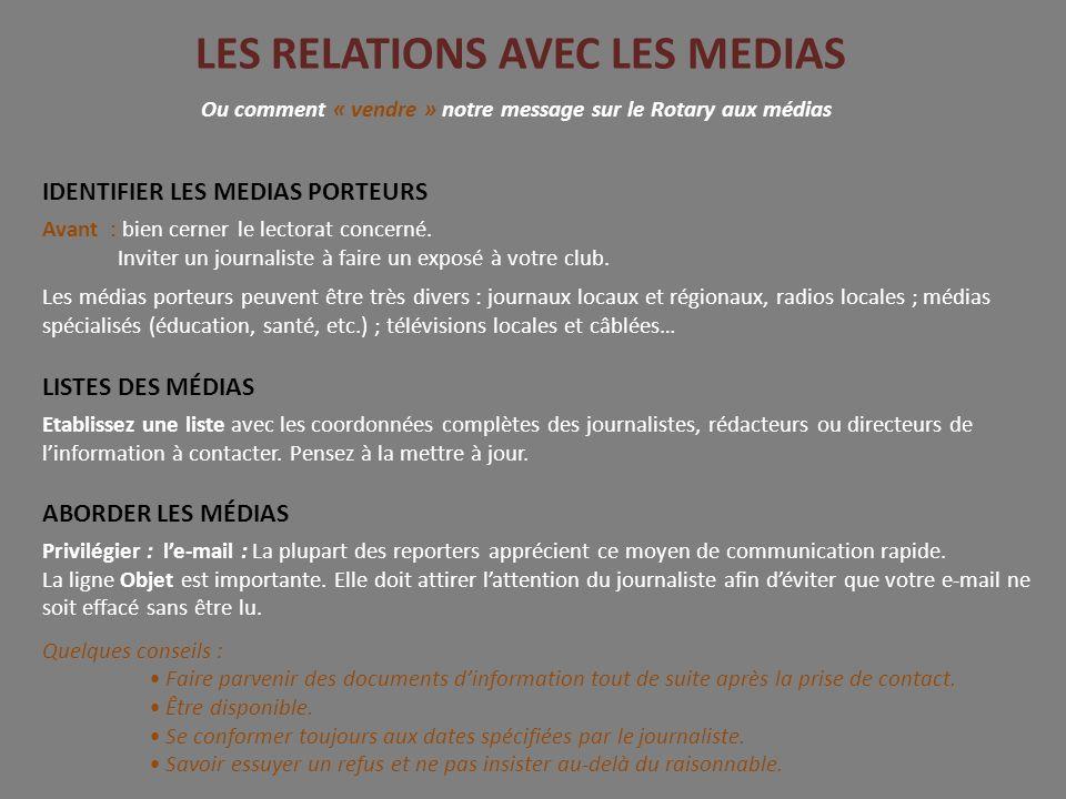 LES RELATIONS AVEC LES MEDIAS