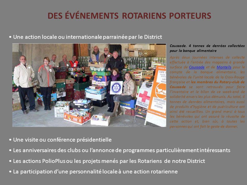 DES ÉVÉNEMENTS ROTARIENS PORTEURS