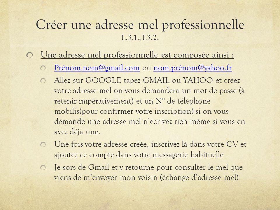 Créer une adresse mel professionnelle L.3.1., L3.2.