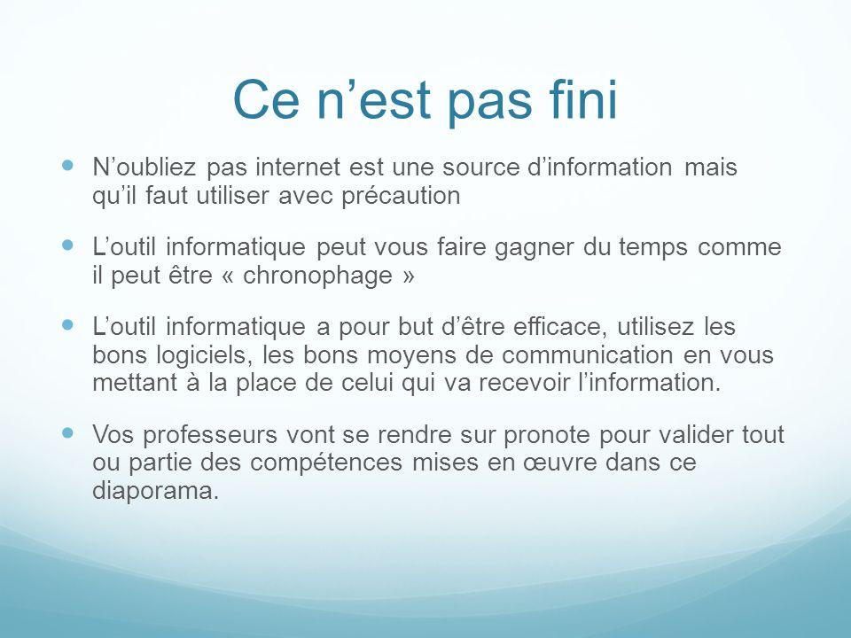 Ce n'est pas fini N'oubliez pas internet est une source d'information mais qu'il faut utiliser avec précaution.