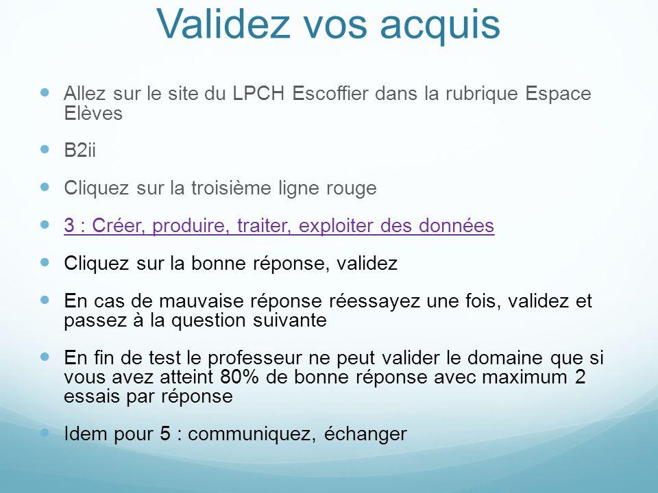 Validez vos acquis Allez sur le site du LPCH Escoffier dans la rubrique Espace Elèves. B2ii. Cliquez sur la troisième ligne rouge.