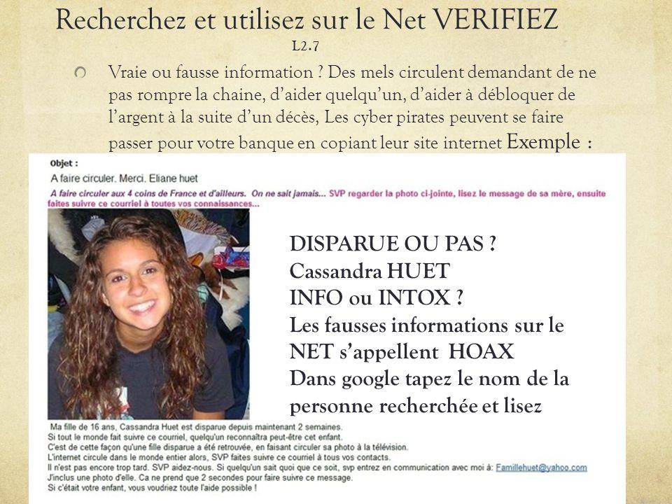Recherchez et utilisez sur le Net VERIFIEZ L2.7