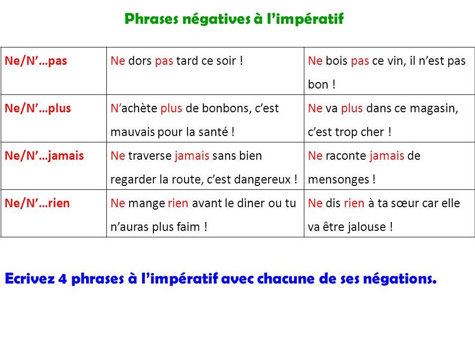 Phrases négatives à l'impératif