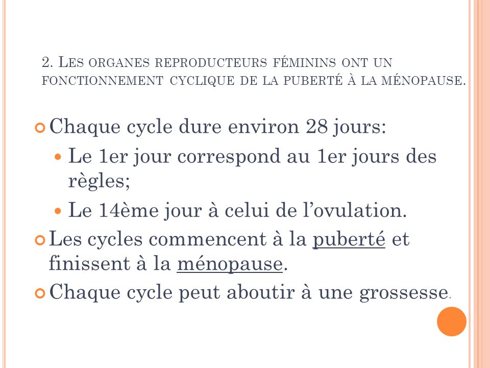 Chaque cycle dure environ 28 jours: