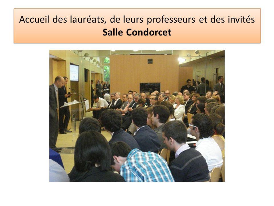 Accueil des lauréats, de leurs professeurs et des invités Salle Condorcet