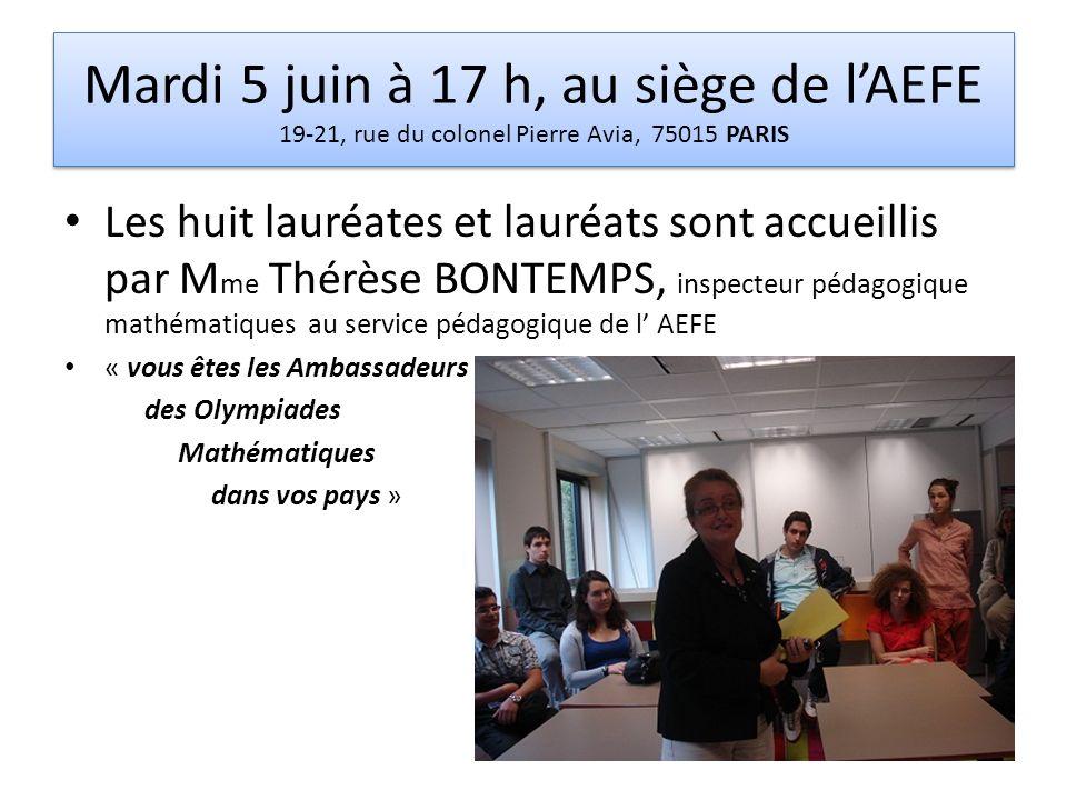 Mardi 5 juin à 17 h, au siège de l'AEFE 19-21, rue du colonel Pierre Avia, 75015 PARIS