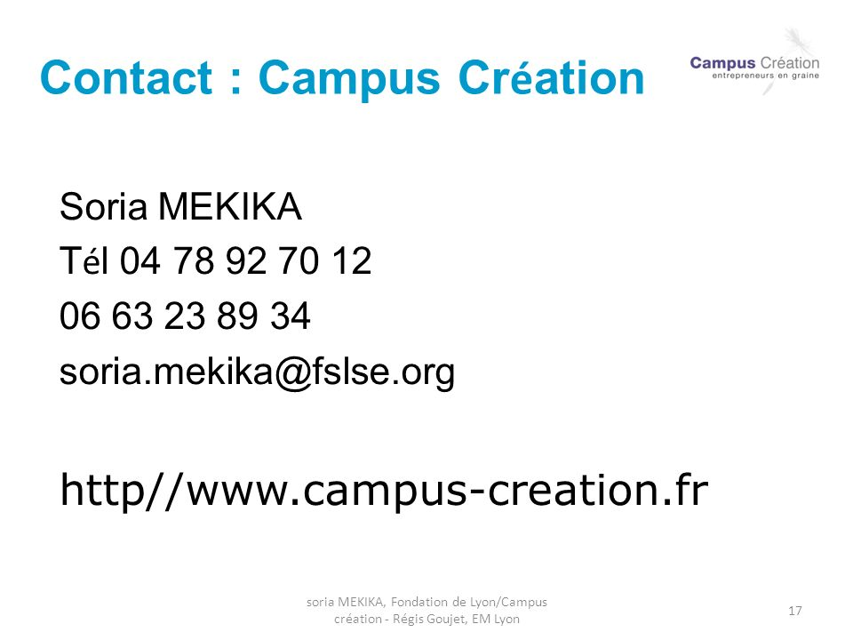 Contact : Campus Création