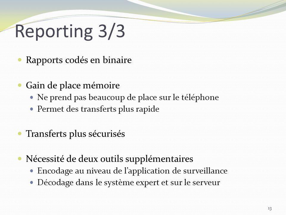 Reporting 3/3 Rapports codés en binaire Gain de place mémoire