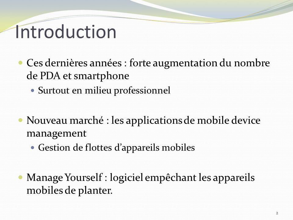 Introduction Ces dernières années : forte augmentation du nombre de PDA et smartphone. Surtout en milieu professionnel.