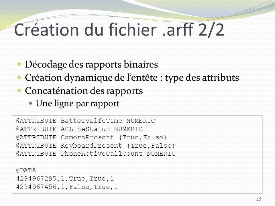 Création du fichier .arff 2/2