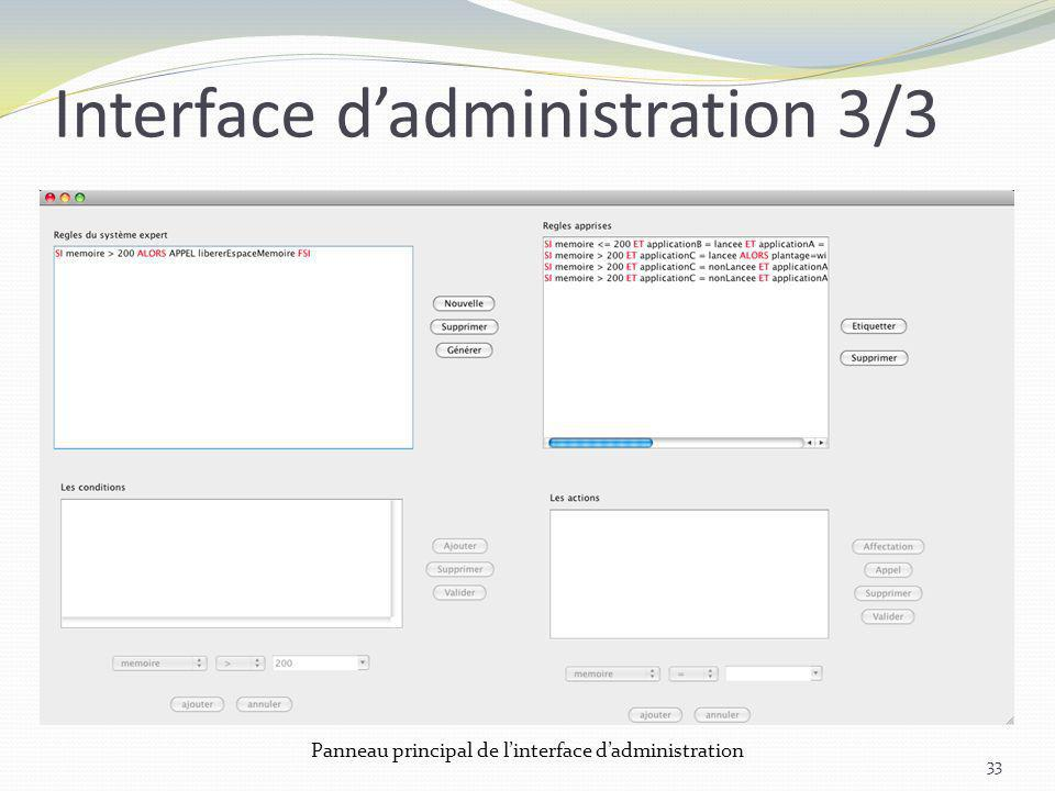 Interface d'administration 3/3
